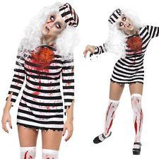 Ladies Zombie Convict Costume Undead Prisoner Halloween Fancy Dress Outfit