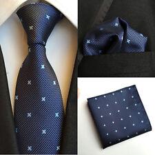 T101 men silk ties & handkerchief pocket square Tie set dark blue diamonds stars