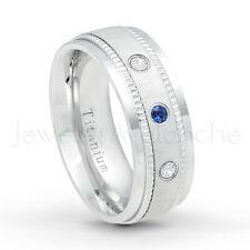 Dome Titanium Ring 0.15ctw Blue Sapphire and White Diamond 3-Stone Wedding Band
