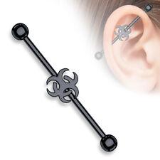 "14g 1 1/2"" Black IP Biohazard Industrial Barbell Cartilage Ear Gauges"