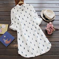 Women Turn-down Collar Long Sleeve Button Loose Vintage Casual Short Shirt Dress