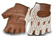 Men's Half Finger Genuine Leather Driving Motorbike Gloves Crochet Back