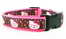 "Hello Kitty dog collar, Handmade, adjustable, buckle collar, 1"" wide, or leash"