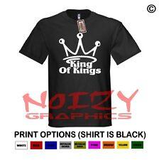King Of Kings Christian Shirt Black T-Shirt Jesus Cross Crown Faith Religious