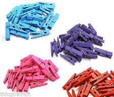 Mini wooden pegs 3.5cm  Purple Pink Blue Red Peg UK