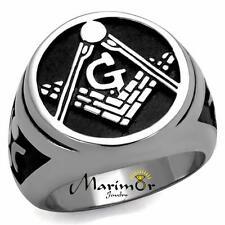 Men's Stainless Steel Tusk 316 & Epoxy Masonic Lodge Freemason Ring Band Sz 8-13