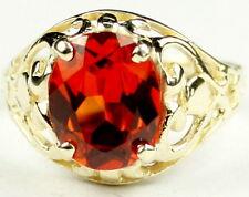 CLEMSON FANS! • R004, Created Padparadsha Sapphire, 10k Yellow Gold Ladies Ring