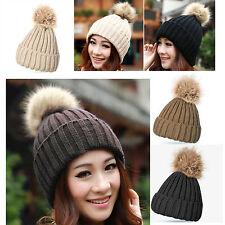 New Faux Fur Ball Pom Beanie Bobble Ski Hat Cap Knit Warm Fake Racoon Fur
