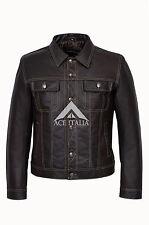 TRUCKER Men's WAXED BROWN SKIPPER Classic Real Cowhide Western Leather Jacket
