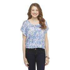 Bongo Crop Top Sweater Knit Shirt Blouse Cap Sleeve Blue White Floral