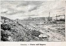 IMPERIA: Ponte sul Torrente Impero. IMPERIA.Riviera dei Fiori.Stampa Antica.1900