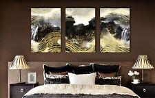 Abstract Gold Line Bird Waterfall Framed Canvas Ink Painting Modern Wall Art