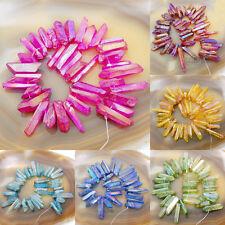 "Natural Quartz Crystal Druzy Freeform Stick Pointed Beads 8"""