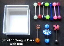 10x Tongue Bars + Box (Flexi Koosh Dice Doughnut Steel) Choose: 12mm 14mm 16mm