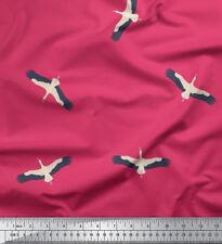 Soimoi Fabric Flying Stork Bird Print Sewing Fabric Meter-BRD-579H