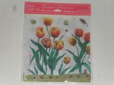 Voile, papier de riz (thème : tulipes et papillons) (taille 49X49cm)