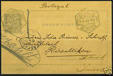 "PORTUGAL 1895 ""LISBOA CENTRAL"" TO ZURICH 20R POSTAL CAR"