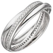 3-er Anillo Mujer con 58 diamantes brillantes redondo, 585 oro BLANCO