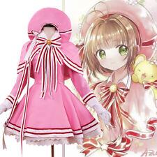 Cardcaptor Sakura Clear Card Cover Fight Cosplay Costume Pink Dress Women Stock