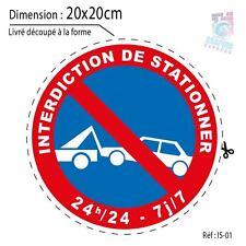 20x20 cm - AUTOCOLLANT INTERDIT DE STATIONNER - INTERDICTION STATIONEMENT IS01
