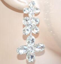 ORECCHINI ARGENTO cristalli fiori donna pendenti sposa elegante matrimonio F75X