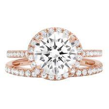 2.52ct Round Cut Promise Bridal Engagement Wedding Ring Band Set 14k Rose Gold