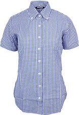 Relco Womens Blue Gingham Short Sleeve Button Down Collar Shirt