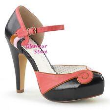 Sexy DECOLTE' PIN UP tacco 11,5 dal 35 al 41 NERO/CORALLO plateau scarpe GLAMOUR