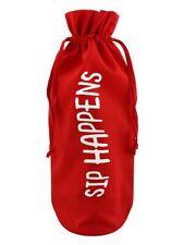 Sip Happens Red Cotton Drawstring Bottle Bag 17 x 37cm