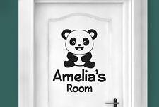 Personalised cute panda kids room door Wall Stickers Vinyl Art Decals