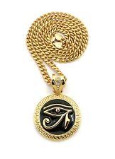 Gold Eye of Heru Horus Bird Ankh Cross Pendant Charm Cuban Link Chain Necklace
