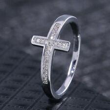 Women Cross 925 Silver Rings White Sapphire Wedding Engagement Rings Size 6-10