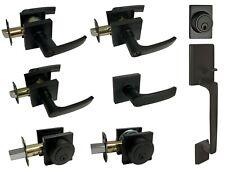Matte Black Square Plate door locks Knobs handle lever entry privacy deadbolt