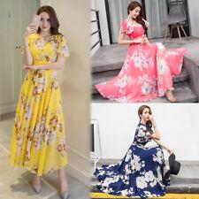 Womens Holiday Chiffon Flower Dress Lady Summer Beach Swing Sun Dress Plus Size