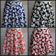 women red black blue orange white heart print skate skirt skorts short flared