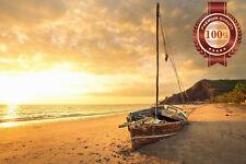 NEW BOAT SHIPWRECK SUNSET SEASCAPE LANDSCAPE PHOTO WALL ART PRINT PREMIUM POSTER