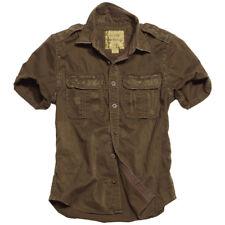 Ejército Vintage Crudo Excedente Hombres Camisa Manga Corta 100 % Algodón Lavado