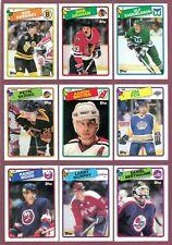 1988-89 TOPPS NHL HOCKEY CARD BOX BOTTOM + STICKER INSERTS 134-198 SEE LIST