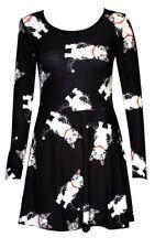 Des femmes à manches longues chat mignon patineuse évasée smock swing mini robe punk goth emo