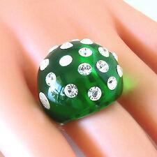 Green Acrylic Dome Ring Swarovski Elements Crystal Luna Bianca 5/6/7/8/8.5/9