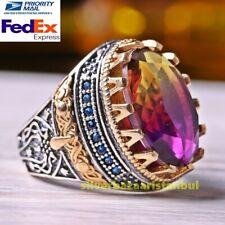 Turkish Handmade 925 Sterling Silver Tourmaline Rainbow Stone Mens Ring All Size