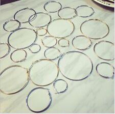 6 Pairs Big Hoop Loop Earrings Jewellery Silver plated Beading Boho Fashion Gift