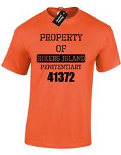 Propiedad de Rikers Island Hombre Camiseta de la prisión de la cárcel Fancy Dress New York criminal