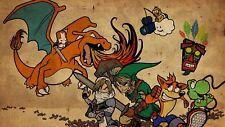 Zelda di Nintendo Yoshi Giochi Retrò Poster T490