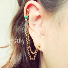 Helix to Lobe feather chain earring, helix dangle earring handmade jewelry, 1pc