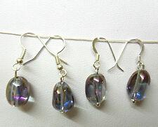 Cristales De Roca, electro plateado pendientes, chapado en plata esterlina o, púrpura