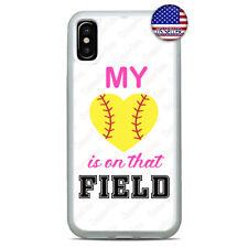 Softball My Heart Design Slim Case TPU Cover iPhone Xs Max XR X 8 7 6 Plus 5 4