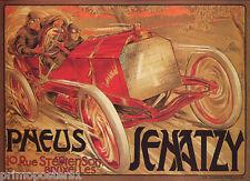 BRUXELLES PNEUS SENATZY RED CAR ROAD RACING RALLY VINTAGE POSTER REPRO
