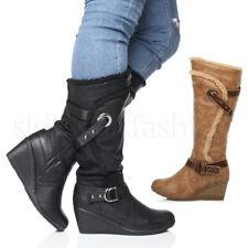 Womens ladies mid heel wedge fur trim strappy winter zip calf boots size