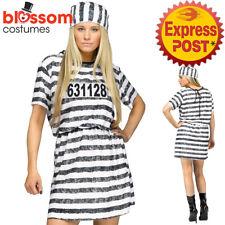 CA816 Lady Convict Prisoner Womens Jail Halloween Fancy Dress Criminal Costume